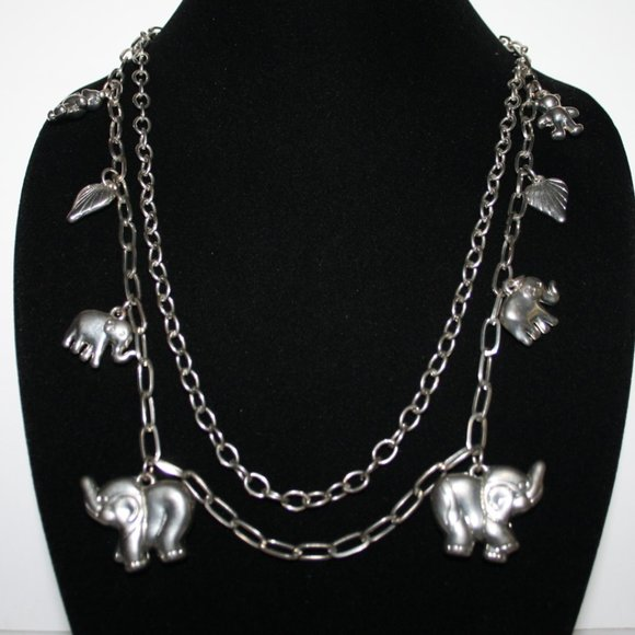 """Silver elephant charm necklace 32"""""""